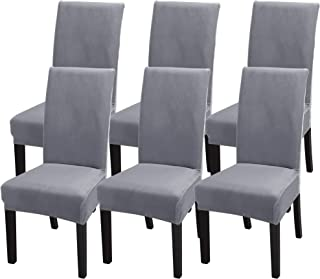 SearchI Velvet Dining Room Chair Covers Set of 6, Fit Stretch Soft Plush Removable Washable Short Parsons Kitchen Dining Chair Slipcovers Protector for Hotel, Ceremony (Gray, 6)