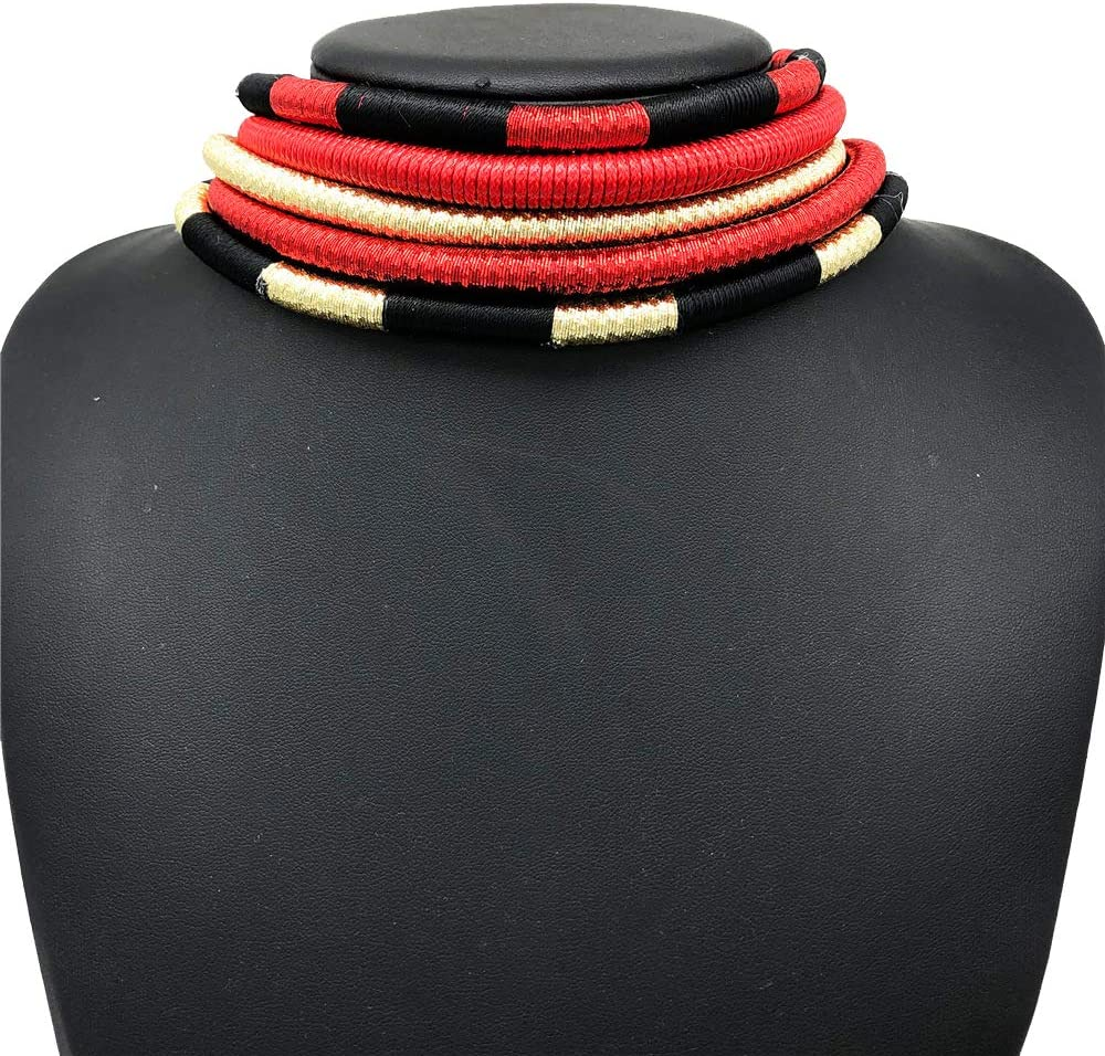 African Necklace - Ankara Jewelry - Sunkissed Marula Kente Choker & Bib African Necklace Jewelry Set (Multi D)