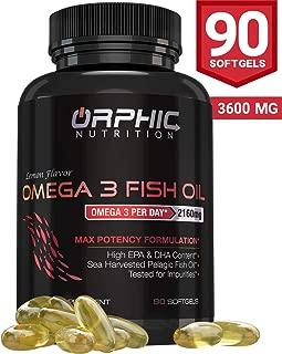 Omega 3 Fish Oil Max Potency Burpless Capsules - 3,600mg Fish Oil + 2,160mg Omega 3 + 1,296mg EPA + 864mg DHA - Best Essential Fatty Acids Supplement for Heart, Eye, Joint & Brain Health, Cholesterol