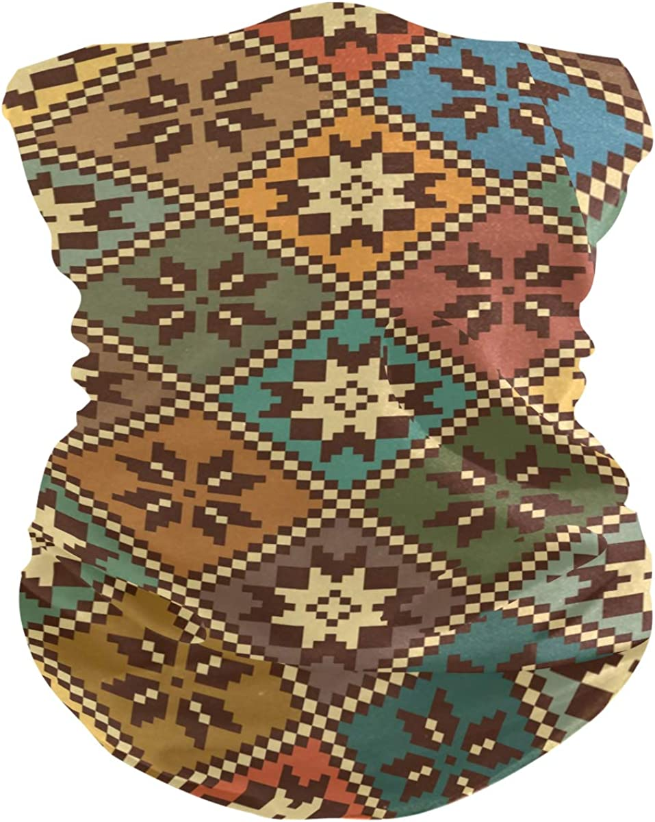 Face Mask Neck Gaiter Bandana Balaclava, Vintage Ethnic Floral Face Sun Dust Mask Magic Scarf Headwear for Running Fishing Outdoor Sport