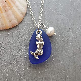 """product image for Handmade in Hawaii, cobalt Sapphire blue sea glass necklace,""""September Birthstone"""", Mermaid charm,freshwater pearl, (Hawaii Gift Wrapped, Customizable Gift Message)"""