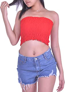Lofbaz Womens Sexy Strapless Pleated Summer Bandeau Tube Crop Tops