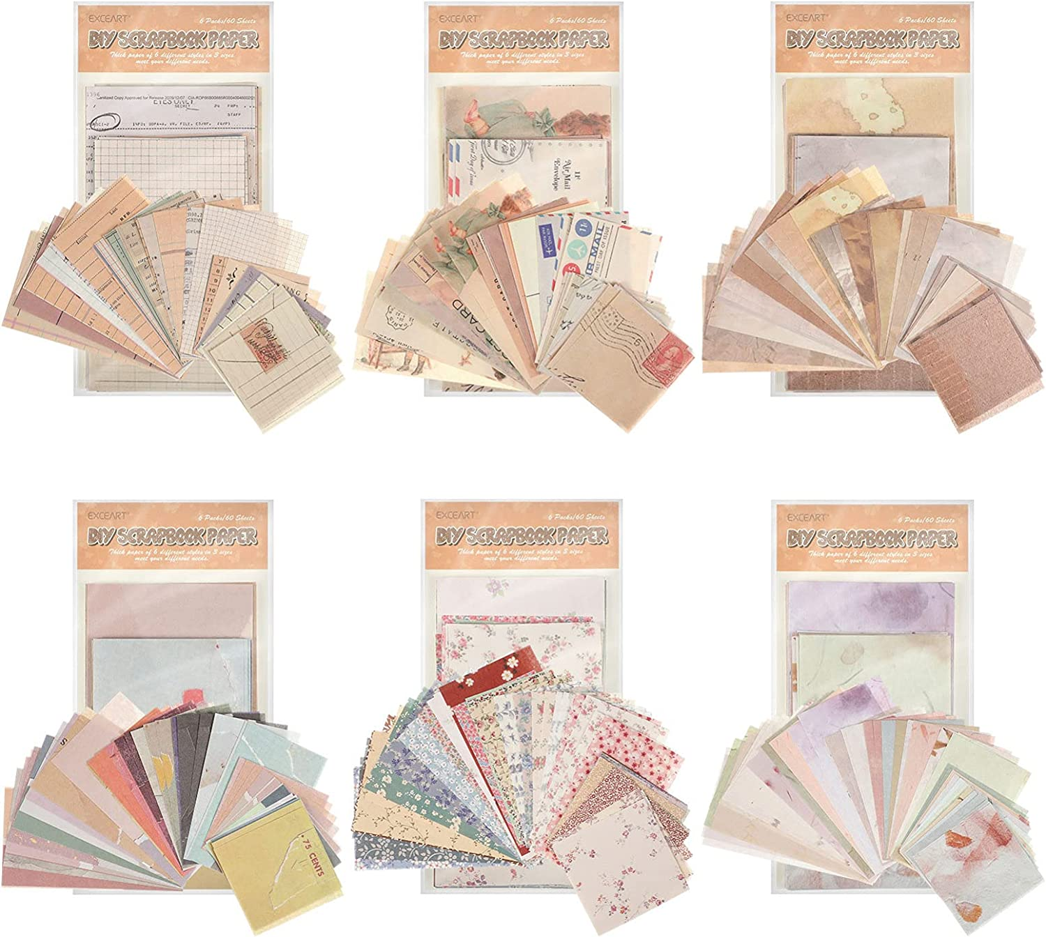 EXCEART 60 Sheets Vintage Supplies Journaling Animer Omaha Mall and price revision Scrapbooking Paper