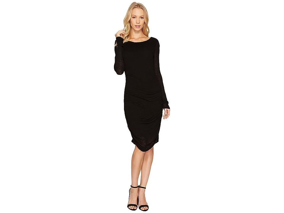 Three Dots Luxe Slub Shirred Dress (Black) Women
