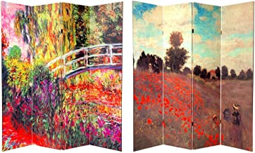 Oriental Furniture 6 ft. Tall Double Sided Works of Monet Canvas Room Divider 4 Panel
