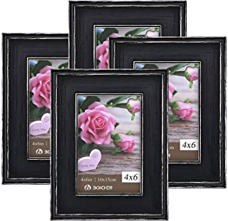 Boichen 4x6 Picture Frames Rustic Solid Wood High Definition Glass for Tabletop Display and Wall Mounting Photo Frame Black 4 Pack