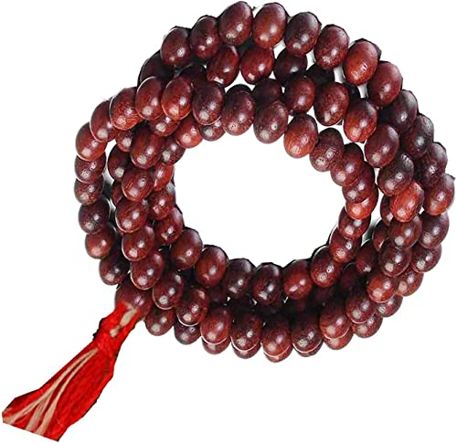 lal red sandal wood rosery chandan mala 108 1 beads for jaap puja gud health positive energy etc