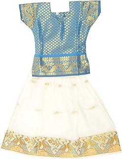 Pkd Girls Ethnicwear Pattupavada Multi-Coloured