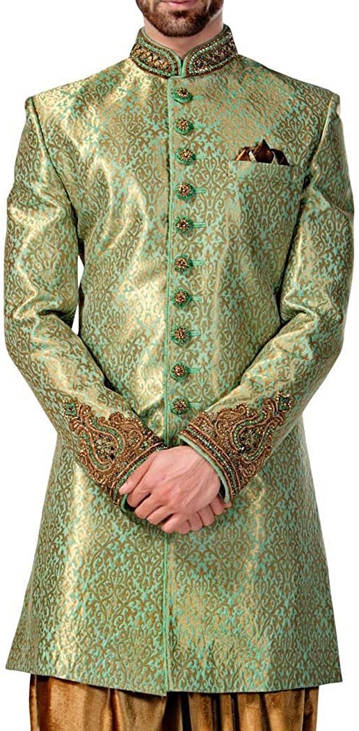 INMONARCH Mens Kurta for Jeans Wine Indo Western Sherwani Classic Indian Wedding IN04271