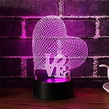 MOPOIN Lampa 3D Lampka nocna, Kształty serca Lampki nocne 7 kolorów Lampa LED Przełącznik dotykowy Lampa stołowa USB z pil...