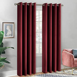 BGment Soft Velvet Curtains for Bedroom, Grommet Energy Efficiency Thermal Insulated Room Darkening Curtains for Living Room, Set of 2 Panels (Each 52 x 108 Inch, Theater Red)