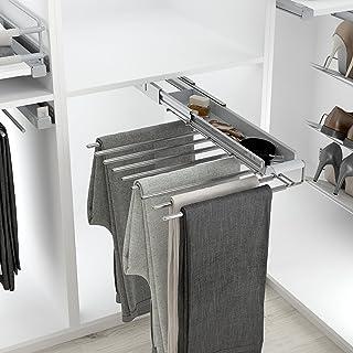 Casaenorden - Percha extraíble para Pantalones con Bandeja para Accesorios - Pantalonero para Armario vestidor, Acero Cromo