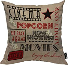 Mugod Movie Theater Pillowcase Cinema Admit One Ticket Sit Back&Relax Red and Black 18