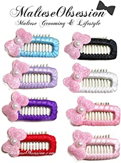 Mini Comb Ribbon Wrapped Snappy Snap Hair Clip for Maltese (Set of 8), Yorkshire, Puppy - Korean Style Dog Hair Bow Snap Clip - Maltese Obsession