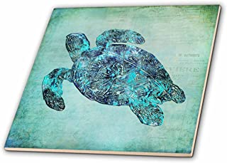 3dRose ct_263000_1 Sea Turtle Mixed Media Illustration Ceramic Tiles
