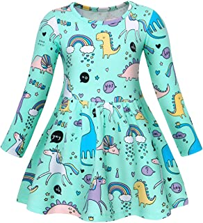 AmzBarley Unicorn Dress Girl Cartoon Print Round Neck Long Sleeve Casual Kids Nightdress