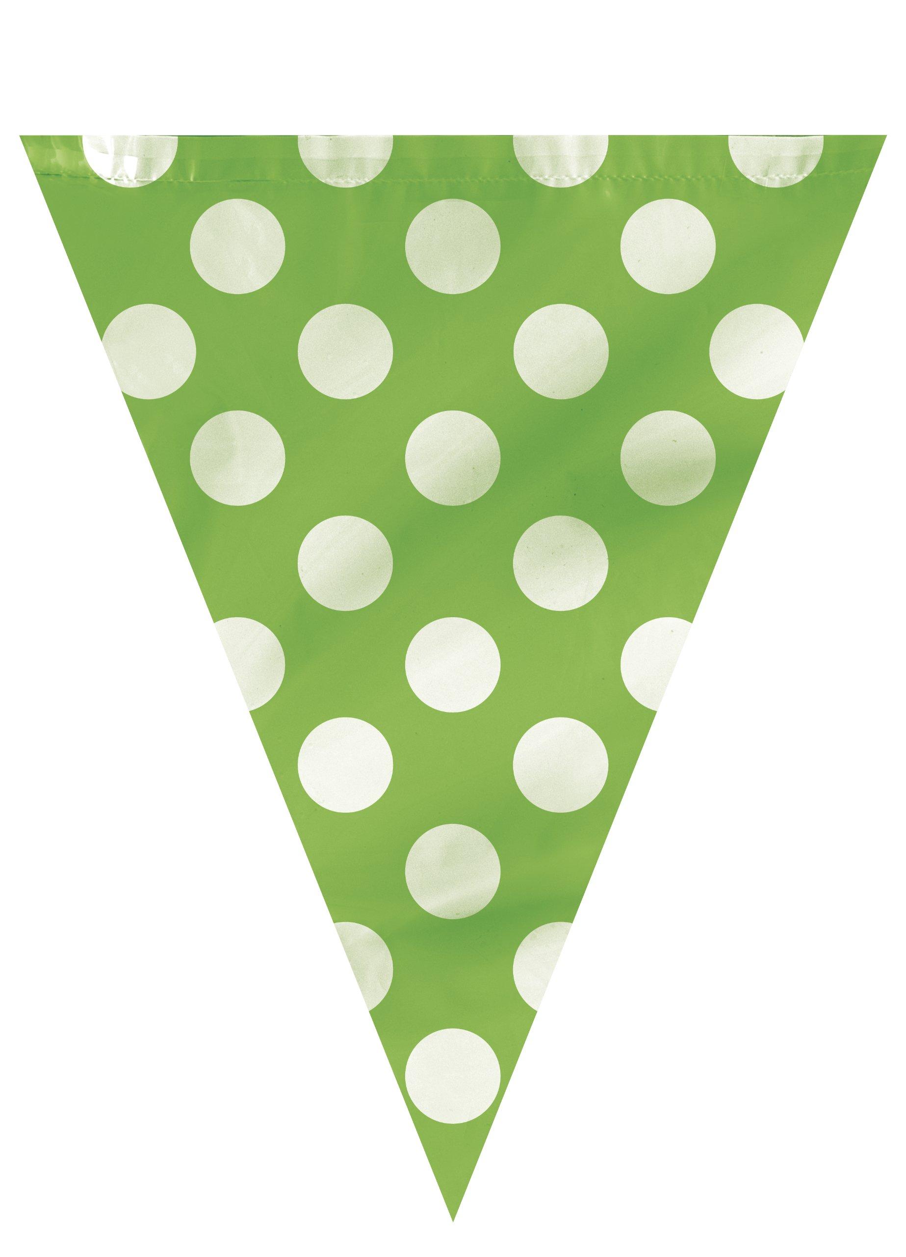 Unique Party- Banderines a lunares, Color verde lima, paquete de 1 (10021): Amazon.es: Juguetes y juegos