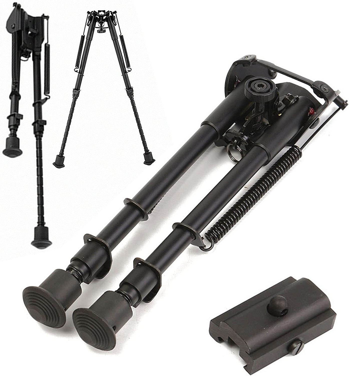 HITSAN 20mm Adjustable Stud Spring 9 inch Bipod Picatinny Rail with Standard Rail Mount One Piece
