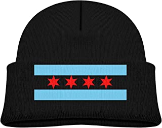 ABY14-YJ Baby Boy's Girl's Knit Beanie Hat Chicago-Flag Cuffed Cotton Soft Funny Skull Cap Black