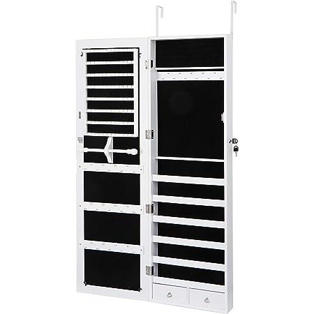 Jewelry Cabinet Organizer Armoire Mounted Lockable w//Frameless Mirror Wall Door