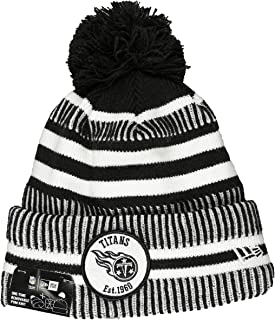 New Era Tennessee Titans 2019 Black & White Sideline Sport Knit Winter Pom Knit Hat Cap