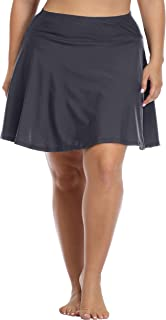 Daci Women's Swim Bottom High Waisted Skirted Bikini Bottom Athletic Swim Skirt