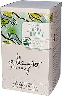 Allegro Fine Tea, Organic Wellness Tea, Happy Tummy, Caffeine Free, 20 Tea Bags, 1.4 oz
