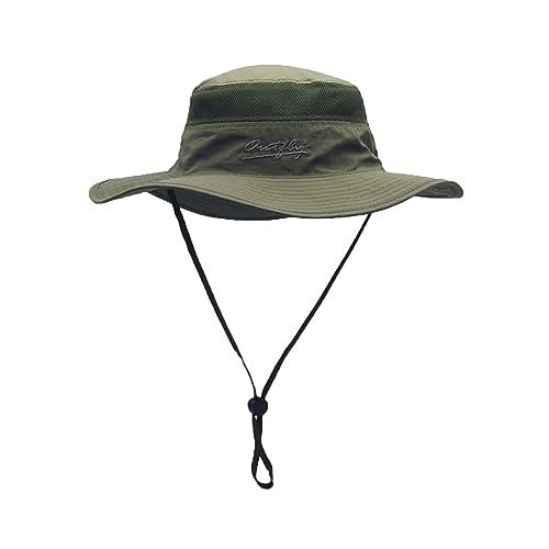 861429fefaa333 WANYING Damen Herren Outdoor Bucket Hut Fischer Hut Buschhüte mit Kinnband  Atmungsaktiv Schnelltrocknend Sonnenschutz für Kopfumfang