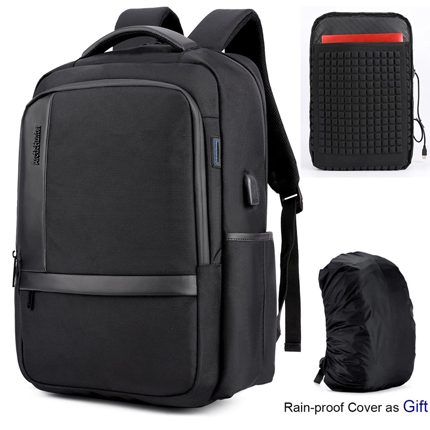 Business Laptop Backpack men water resistant&Anti-theft with USB charging port,office,casual,college school travel backpack,computer bag daypack,15.6 laptop leather professional slim black lightweight