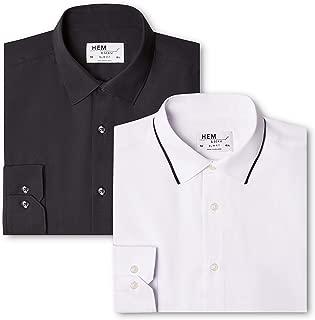 find Multicolor Pack de 2 Talla del Fabricante: 17 56 Contrast Blue With White//White Camisa de Oficina para Hombre , 2 Regular Fit Collar