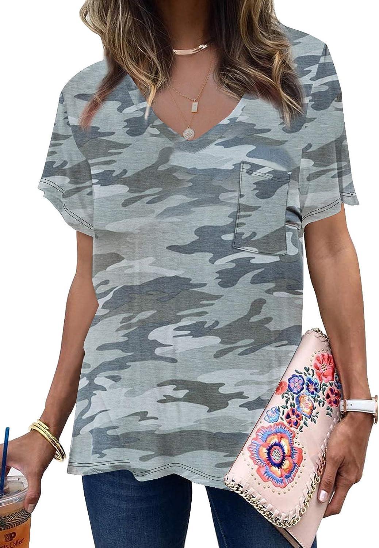 Dokotoo Women's Summer Camo V Neck Short Sleeve Tee Shirts Casual Loose Blouse Tops