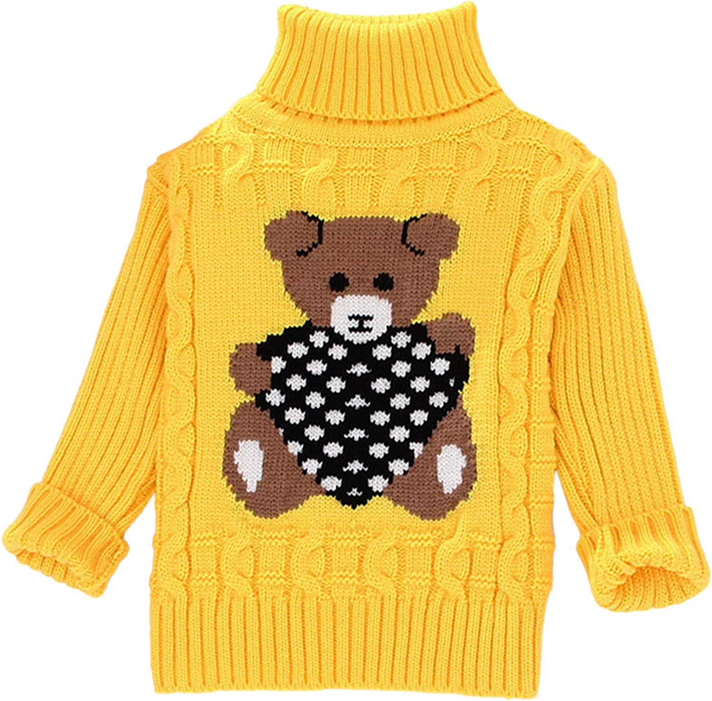 LAEMILIA Rollkragenpullover Jungen M/ädchen Kinder Strickpullover B/är Pullover 90-140cm Sweater Langarmshirt