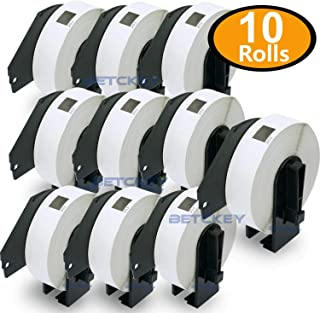 """BETCKEY - Compatible DK-1203 File Folder 2/3"""" x 3-7/16""""(17mm x 87mm) Replacement Labels,Compatible with Brother QL Label Printers [10 Rolls/3000 Labels with Refillable Cartridge Frame]"""