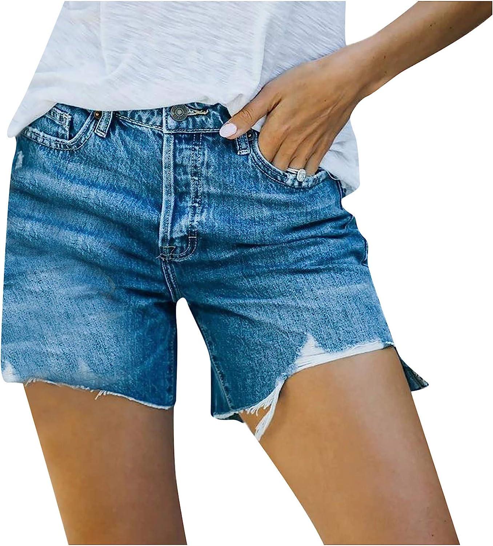 Digood Womens Jeans Shorts Womens Comfy Summer Shorts Elastic Waist Pockets Casual Bull-Puncher Knickers