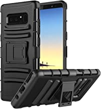 MoKo Samsung Galaxy Note 8 Case, Shock Absorbing Hard Cover Ultra Protective Heavy Duty Case with Holster Belt Clip + Built-in Kickstand for Samsung Galaxy Note 8 (2017) - Black