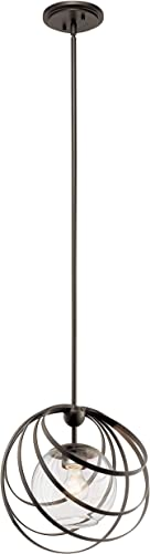 new arrival Kichler 44016OZ Contemporary Modern One Light Pendant from Kerti wholesale Collection Dark Finish, 13.25 inches, Olde sale Bronze outlet sale