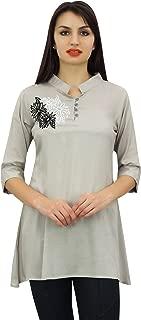 Phagun Women's Summer Tunic Cotton Modal Floral Aari Work Top Blouse