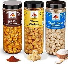 Nakodas Roasted Makhana Combo - Peri Peri, Roasted Cheesy, Classic Salted Fox Nuts (70gm Each, Pack of 3)