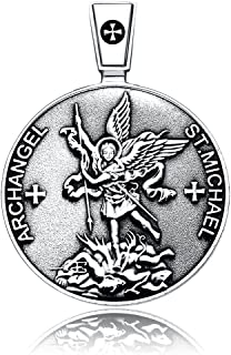 ARCHANGEL ST.MICHAEL SIGIL SEAL PROTECTION MEDAL CHRISTIAN TALISMAN STERLING 925 SILVER PENDANT NECKLACE