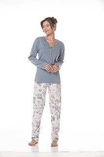 Pijama longo malha 100% algodão estampa floral, blusa com abertura e renda - 5940