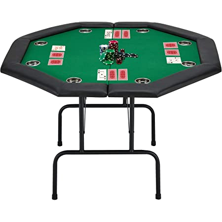 Amazon.com: ECOTOUGE Game Poker Table w/Stainless Steel Cup Holder Casino  Leisure Table, Top Texas Hold'em Poker Table for 8 Player w/Leg, Green Felt  : Sports & Outdoors