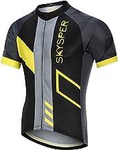 SKYSPER Fietsshirt voor heren, korte mouwen, fietskleding, fietsshirt T-shirt voor mannen, ademende cycling jersey, sneldr...