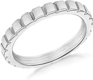 Tuscany Silver 镀铑方形图案戒指