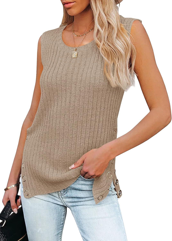 PiePieBuy Womens Knit Tank Tops Crew Neck Sleeveless Tunic Side Slit Button Cami Sweater Vest