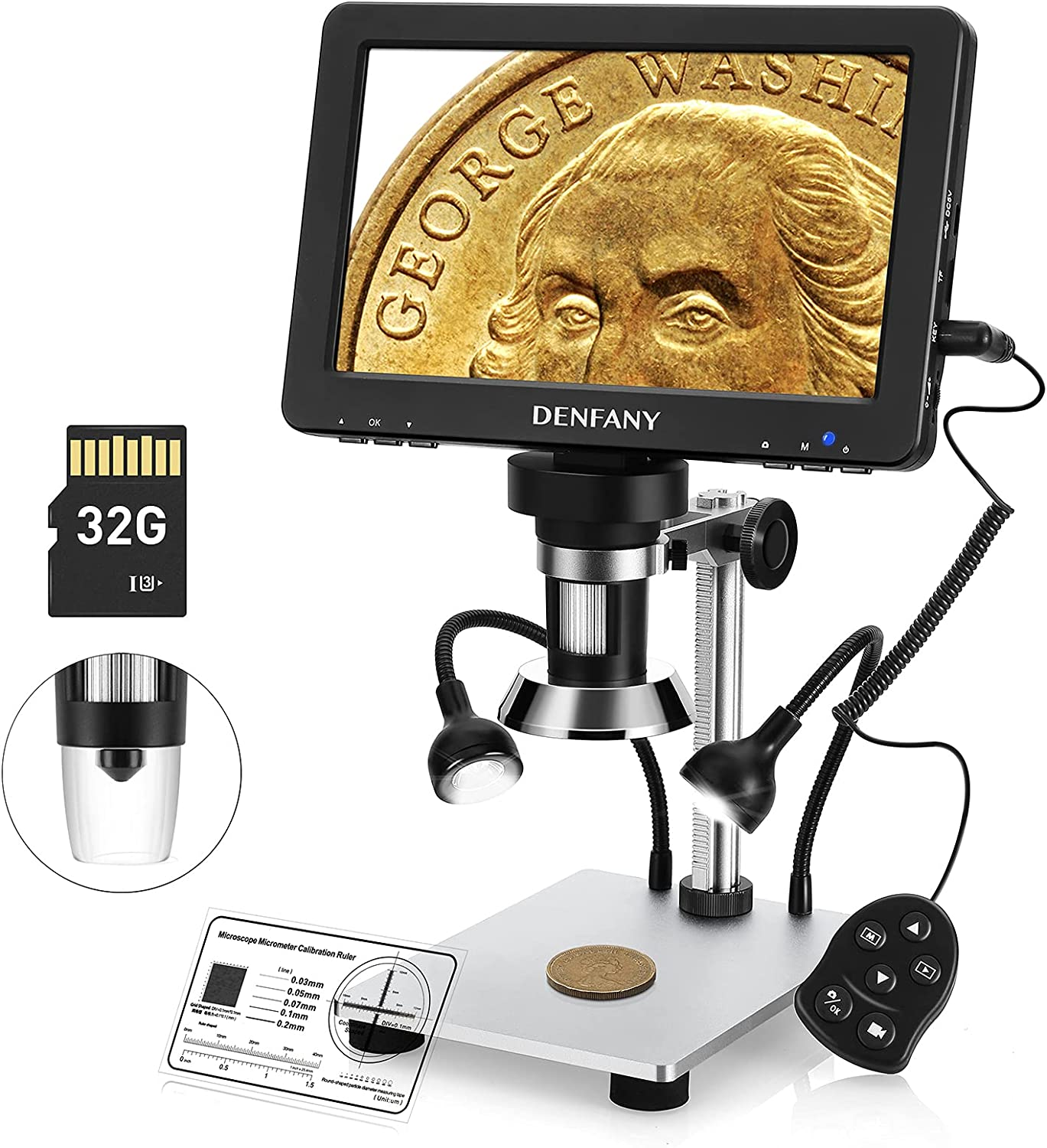 Denfany 7 Inch LCD Digital Microscope with 32GB TF Card, 1200X Maginfication 1080P Video 12MP Camera Microscopes Handheld USB Wired Remote Metal Stand, 10 LED Light Windows/Mac OS Compatible