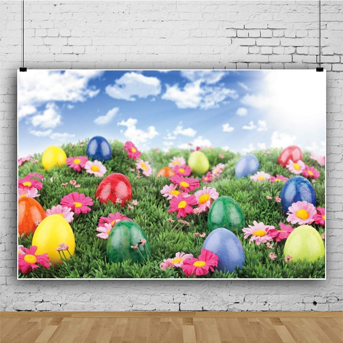 YongFoto 6x4ft Spring Easter Backdrop Colorful Eggs Photography Background Grassland Flowers Blue Sky White CloudHoliday Party Banner Interior Decor Kids Adult Portrait Studio Props Wallpaper