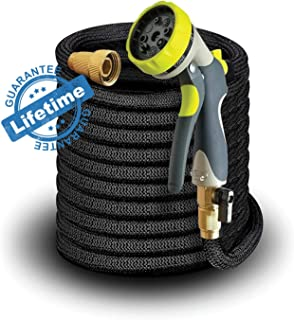 Elk & Bear Expandable Garden Hose w/Spray Nozzle Brass Fitting Flexible No Kink Lightweight Portable Water Hose. Best for Gardening RV Accessories (50 ft)