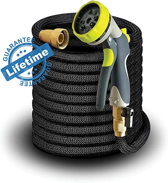 Elk Bear Expandable Garden Hose W Spray Nozzle Brass Fitting Flexible No Kink Lightweight Portable Water Hose Best For Gardening RV Accessories 50 Ft