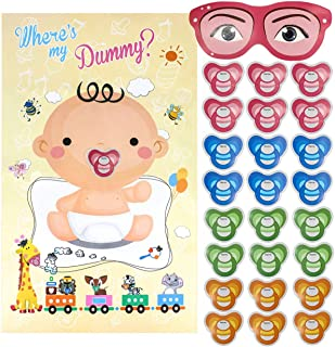 Pin The Pacifier on The Baby Game, Baby Shower Party Poster Favors Supplies for Baby Shower Party Birthday Party, Pin The Dummy on The Baby Game - with 24Pcs Pacifier Stickers