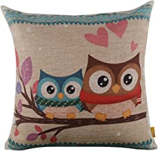 LINKWELL 18 x 18 inches Forest Cute Owl Design for Kid Room Decor Burlap Pillowcase Cushion Cover